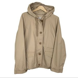 GAP Camel Hooded Button Zip Front Utility Jacket